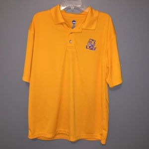 LSU NCAA Gold Purple Polo Shirt, Men's Size Large